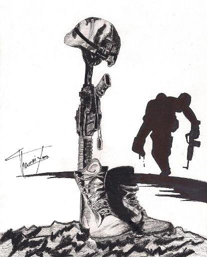 fallen soldier cross drawing - Google Search