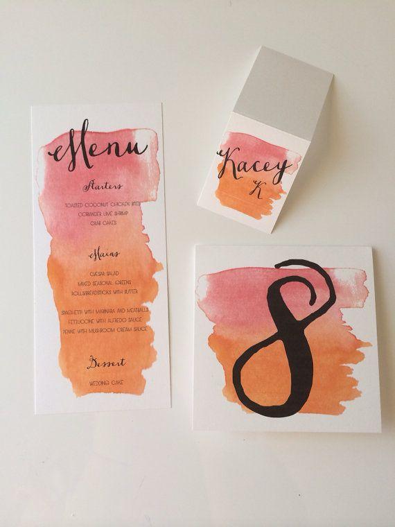 Watercolor escort cards, table numbers, menu