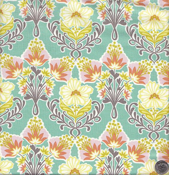 Blend Fabrics Hope Chest Floral in Aqua by quiltsandwich on Etsy, $9.00