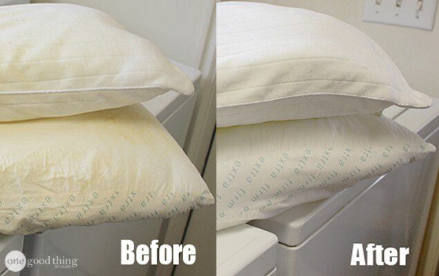 Whiten yellowed pillows HOT HOT WATER 1 Cup laundry detergent 1 Cup powdered dishwasher deterg. 1 Cup bleach 1/2 Cup Borax