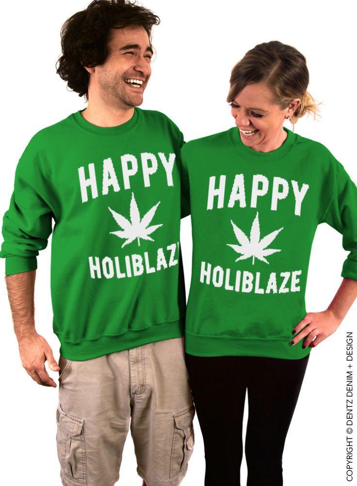 Happy Holiblaze - Green/White Crew Neck Sweatshirt Christmas 420 Holiday Sweater
