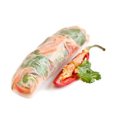 """Rice Papers rolled into """"2bite"""" rolls, filled with vermicelli noodles and pickled capsicums, red onion, carrots, spring onion & Vietnamese mint. Served with a sweet & sour dipping sauce"""