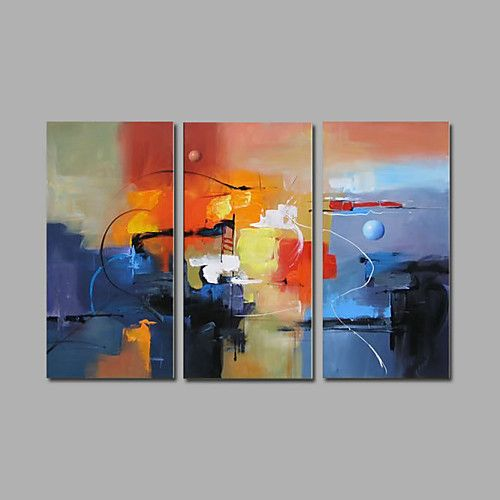 Pintados à mão Abstrato Horizontal,Moderno 3 Painéis Pintura a Óleo For Decoração para casa de 2017 por R$305.77