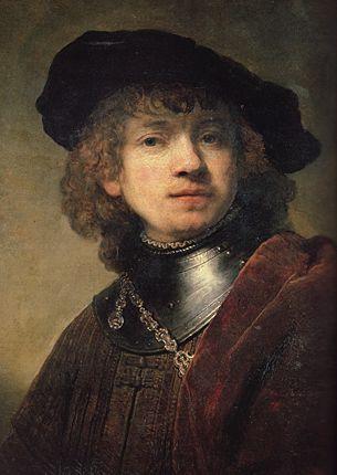 Autoportrait jeune, vers 1634, Florence, Galleria degli Uffizi peinture à l'huile  -béret     -éclairer d'un côté      -cheveux bouclés