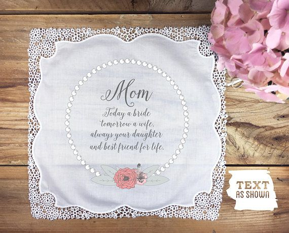 Mother of the Bride wedding handkerchief with poem mother