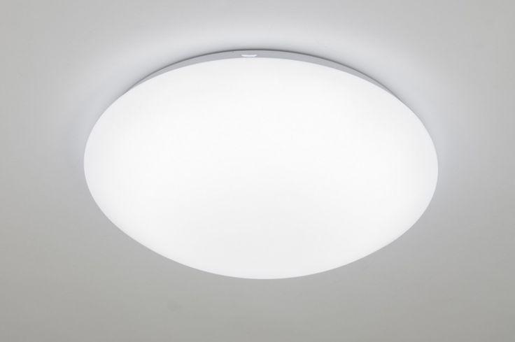 Plafondlamp 89402: Kunststof, Wit, Rond