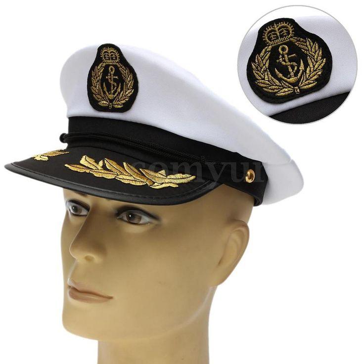 Unisex Navy Yacht Sailors Captain Boating Boat Ship Nautical Party Hat Cap UK