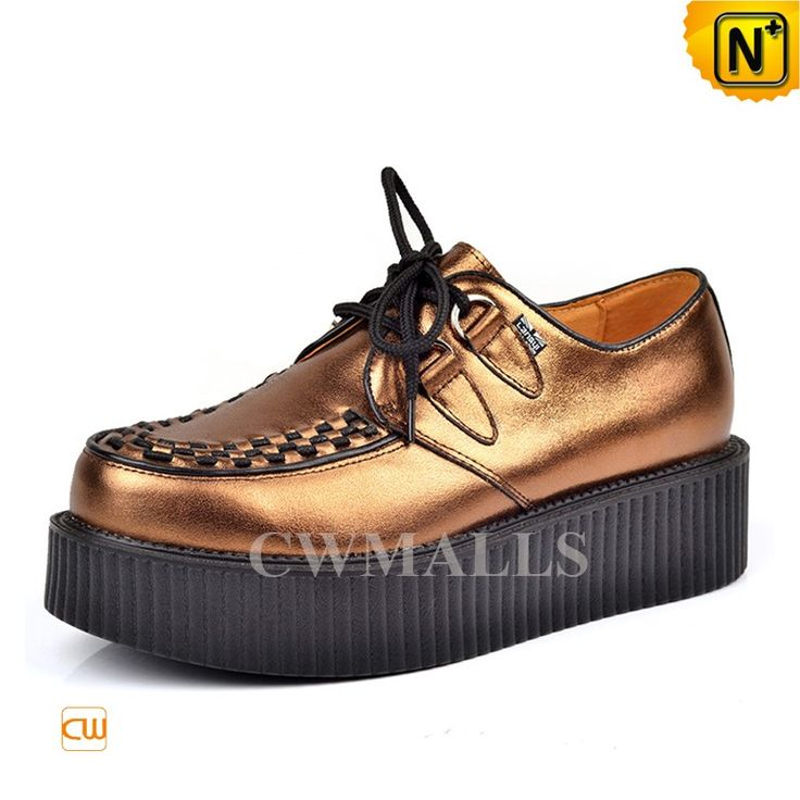 CWMALLS Mens Golden Leather Creeper Shoes CW721612 Designer golden leather platform shoes for men, made with fine cowhide leather and pigskin leather, finished with weaved toe, classic lace-up styling, these platform shoes help to increase the height with best comfort for men. www.cwmalls.com PayPal Available (Price: $197.89) Email:sales@cwmalls.com