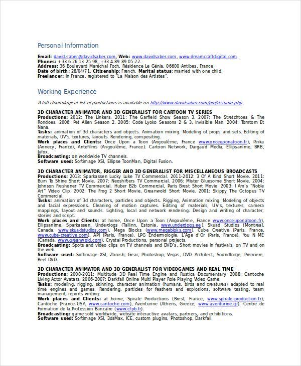 Resume Format 3d Animator Download Resume Resume Format Sample Resume