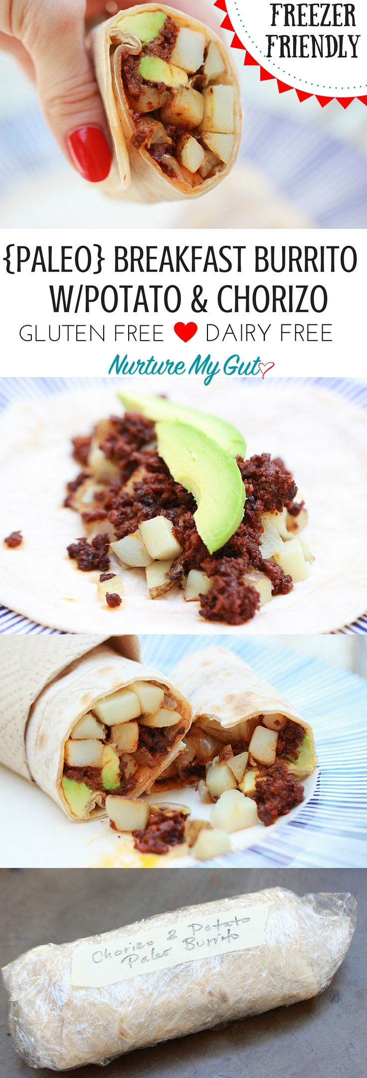 Paleo Breakfast Burritos with Potato and Chorizo.  These are gluten free/nut free/dairy free & Paleo.  Can be made ahead, frozen and reheated in the oven.  Tortillas are made with Otto's Cassava Flour.