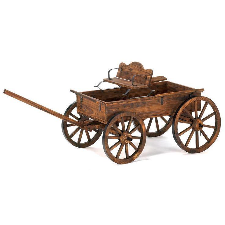 Country Outdoor Wagon Wheel Buckboard Yard Garden Cart Western Rustic Wood Decor