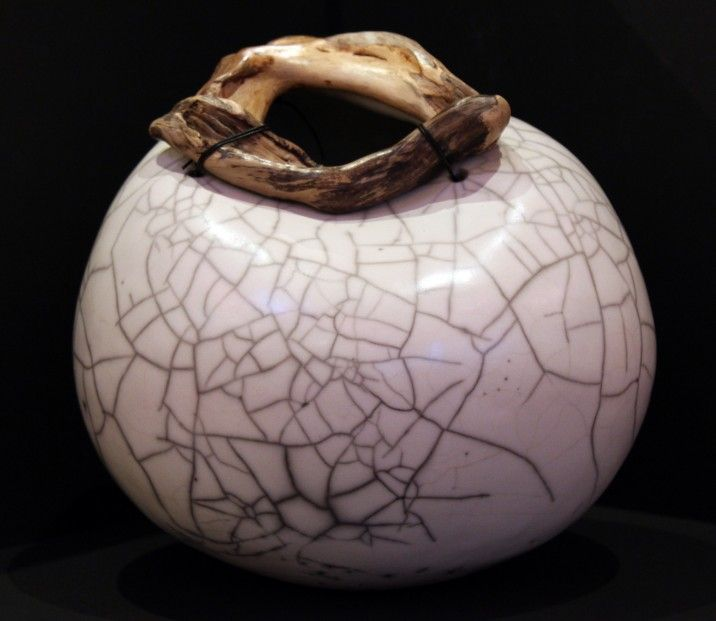 Anne Morrison, Rounded Pod Crackle Pot with Driftwood Loop, Raku 13x13   Scottish Contemporary Art
