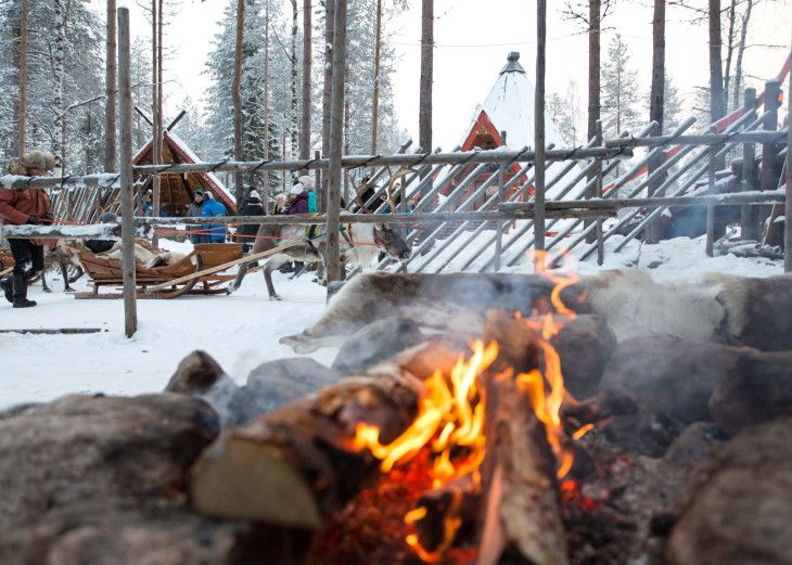 Santa Claus Reindeer photo: Lappish atmosphere with Santa Claus Reindeer in Santa Claus Village in Rovaniemi in Lapland in Finland