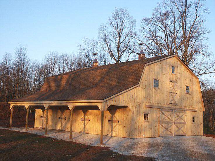 56 best new barn images on pinterest horse stalls barn for Gambrel roof pole barn kits