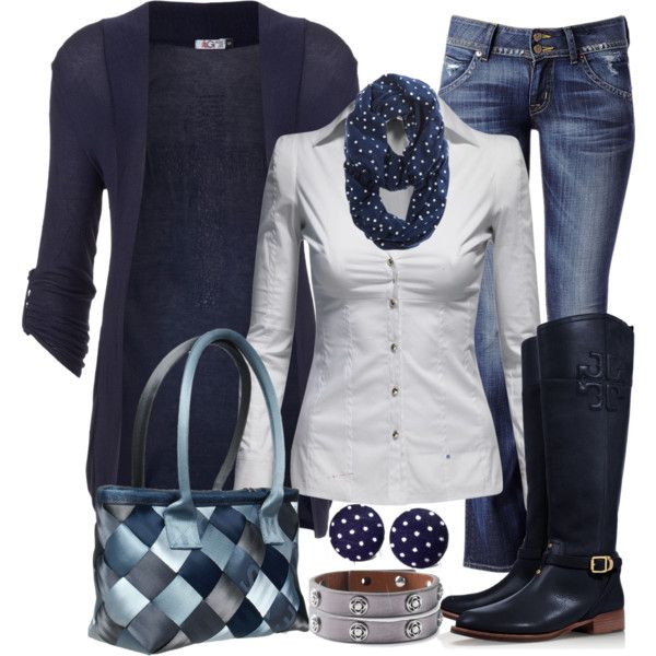 Casual Outfit: Polka Dots, Blue Outfits, Digital Closet, Fashionista Trends, Outfits Ideas, Comfy Winter, Work Outfits, Casual Outfits, Closet Couture