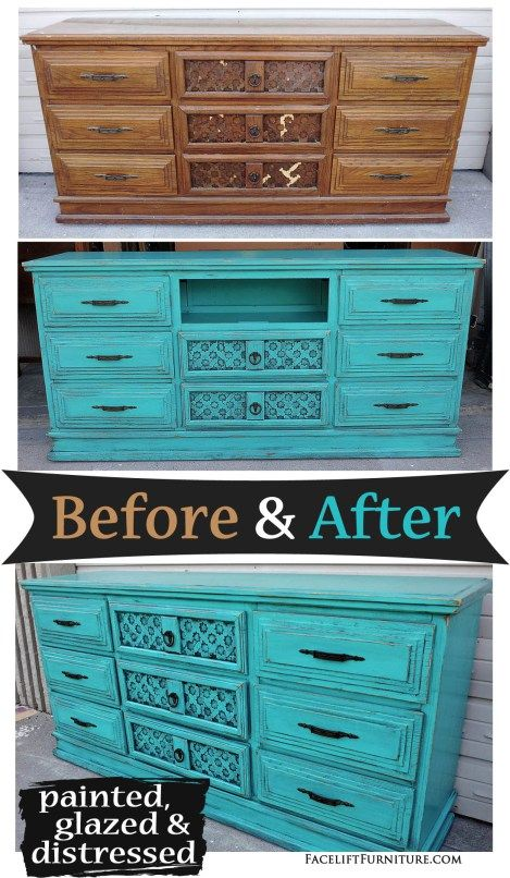 Dresser repurposed into media console, in distressed Turquoise with Black  Glaze - Before and After - Best 25+ Distressed Turquoise Furniture Ideas On Pinterest
