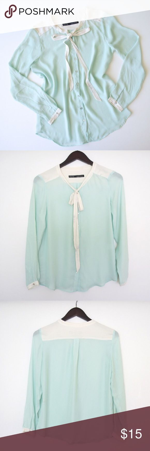 Zara Mint and White Blouse with Bow Pale Mint satin blouse, mother of pearl button front, drapey fit, contrast yoke, cuffs, and bow tie. Some faint streaks on the tie and front left yoke, but they're hard to notice. Zara Tops Blouses
