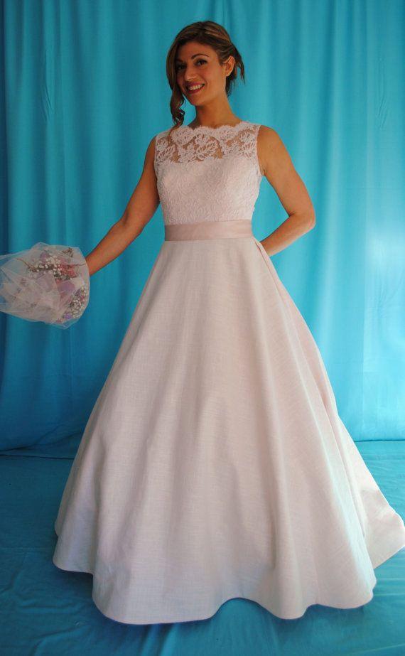 Del Mar Gown/Custom Linen Wedding Dress/Made by BridalsinLinenNJ