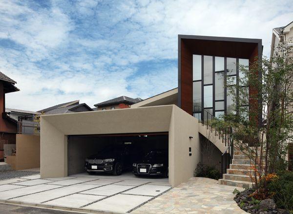 ガレージハウス|R階段|外観|デザイナーズハウス・注文建築・自由設計・建築家|アーキッシュギャラリー(東京・名古屋・大阪)Achish&Gallery
