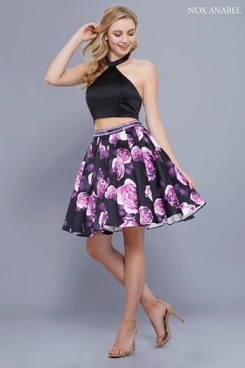 Nox Anabel 6347 Two Piece Short Floral Skirt with Halter Top