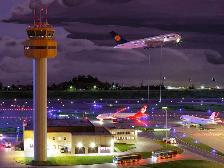 Miniatur Wunderland: World's Largest Model Railway Picture of the working airport where planes take off and land!!