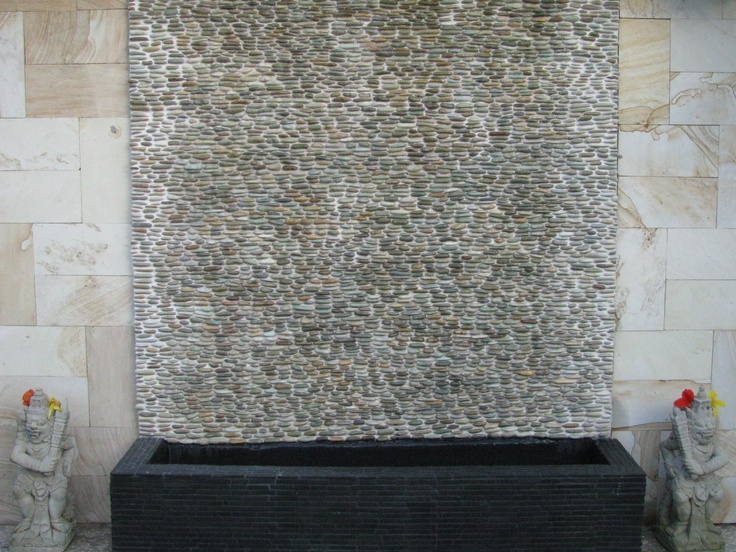 Golden Standing Pebble Tile Wall Fountain, Black And Grey Java Stick  Mosaics Cover The Catch