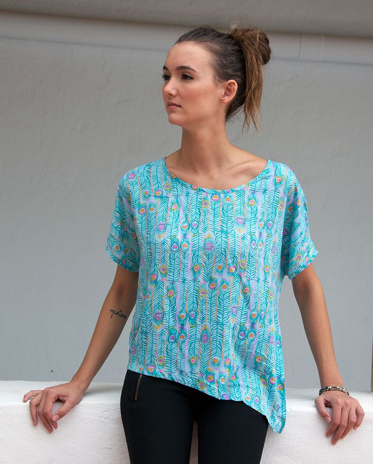Sorayane - Blue Turquoise Asymmetric T-Shirt
