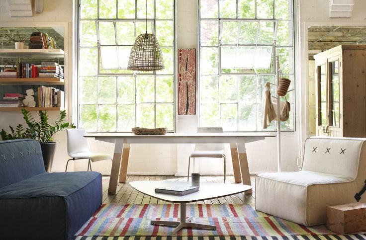 Loom Rugs promo shot at Koskela with styling featuring Aboriginal basketry and artwork