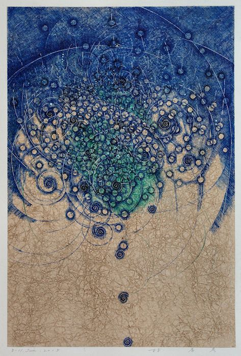 Takahiko Hayashi:  Affordable Art Fair NYC 2015 - September 10-13, Metropolitan Pavilion -The Booth of New Grounds Gallery-Albuquerque NM.D-11.Jun.2015 / pigment ink on Gampi paper 42x28cmHAYASHI Takahiko 林孝彦