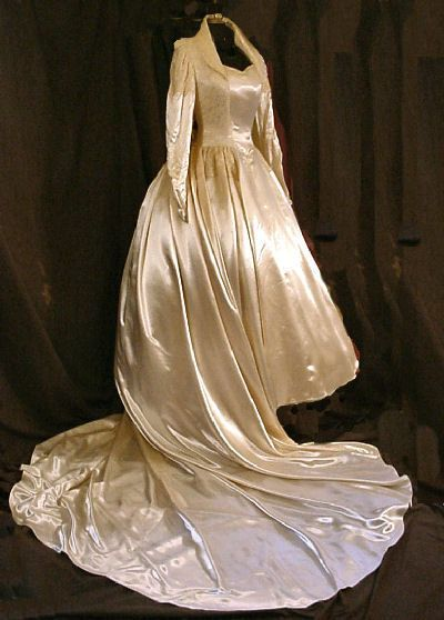 Queen Elizabeth inspired late 1940s royal wedding gown in satin and lace.