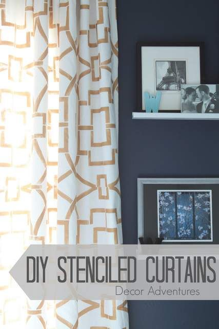 Create your own curtains easily and for less money than buying expensive fabric. Use a stencil and any paint color you love!