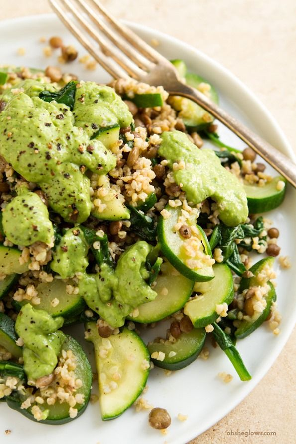 Green Powerhouse Pesto Plate | Oh She Glows | #vegan #recipe (I'm racking my brain over what to use in place of olive oil in the pesto for a fat-free option. Any ideas? ~Ellen)