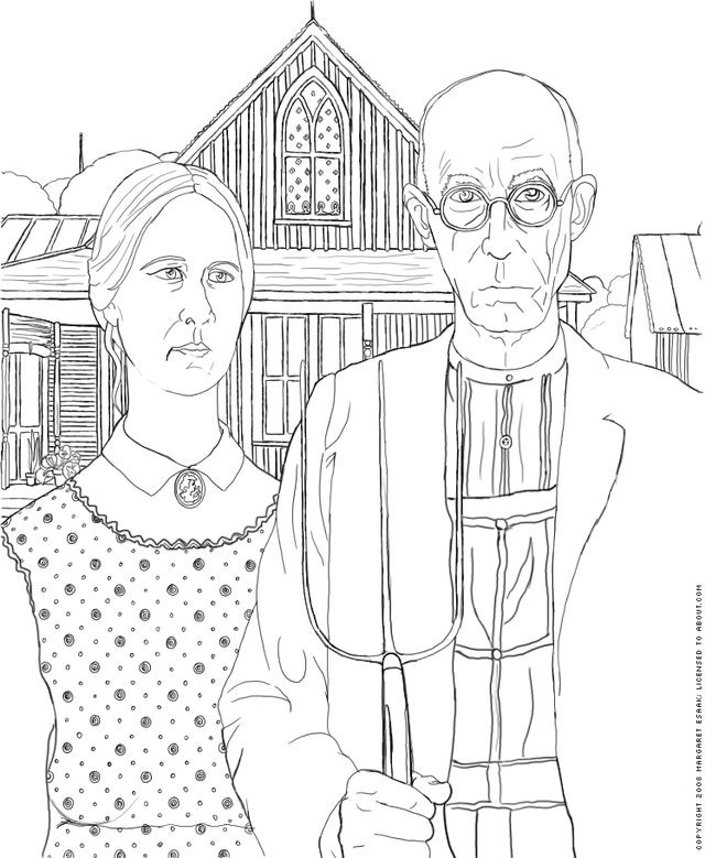 Free Art History Coloring Pages: American Gothic Coloring Page