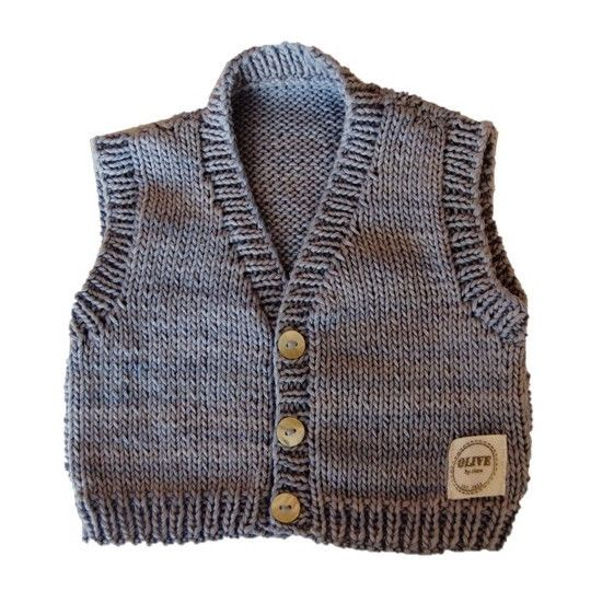 GRAYSON WAISTCOAT. Hand knitted front-open waistcoat. Made using 100% natural cotton. Sizes: 0-3m, 3-6m, 6-12m #olivebyclare