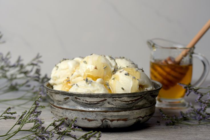 """Honey Lavender Goat Milk Gelato! We call this flavor """"June on a spoon"""" Its is light and refreshing and made with local Honey, and hand harvested greek lavender. #bloomyandbee-utiful"""