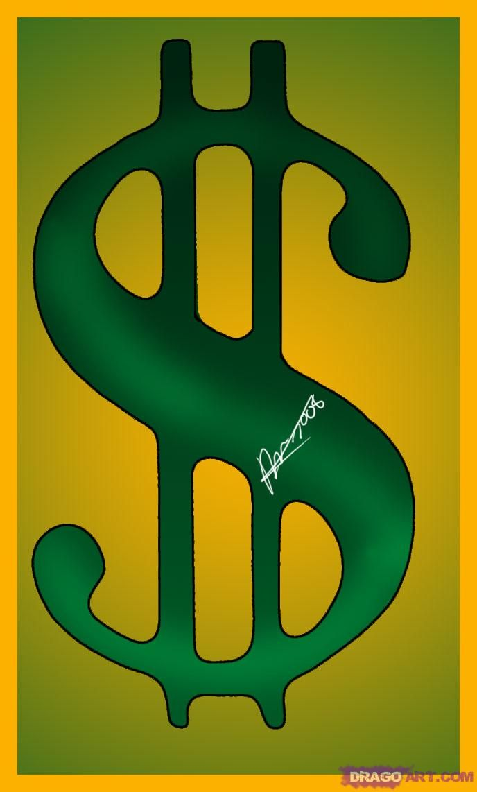 How to Draw a Dollar Bill Sign, Step by Step, Symbols, Pop Culture ...