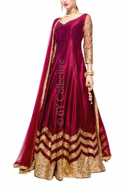 This gorgeous maroon silk floor length anarkali is the perfect budget sister of the bride outfit. Click for price. #Frugal2Fab