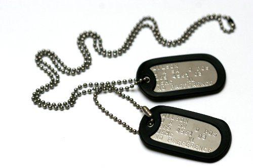 Militärischen Erkennungsmarken: 2 personalisierten Erkennungsmarken im Armeestil mit Kugelkette & Schalldämpfern | Your #1 Source for Jewelr...