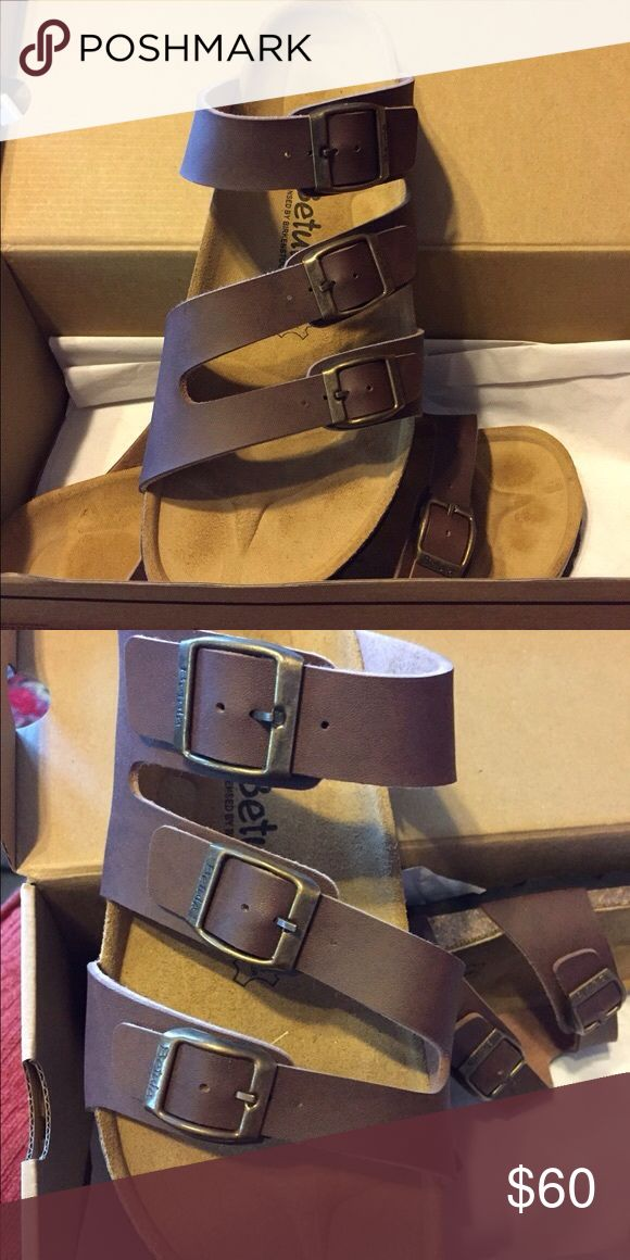 NEW IN BOX BIRKENSTOCK BETULA SANDALS This pair of sandals are so cute and comfortable, the three strap look is great, giving your feet more stability.  Never worn, still in box. Had surgery and doc won't allow me to wear sandals. Birkenstock Shoes Sandals