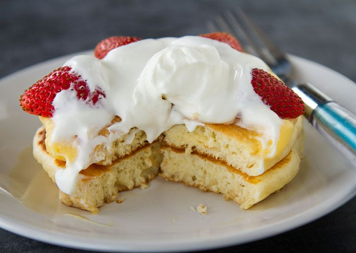Japanese hotcakes ホットケーキ (Japanese style pancakes) by La Fuji Mama. They are sweeter and fluffier than the regular American style pancakes. Use toppings such as custard, fresh fruit, and whipped cream.