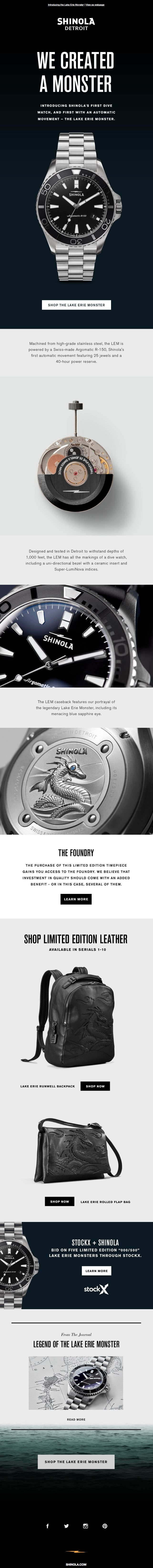 Beautiful email design from Shinola