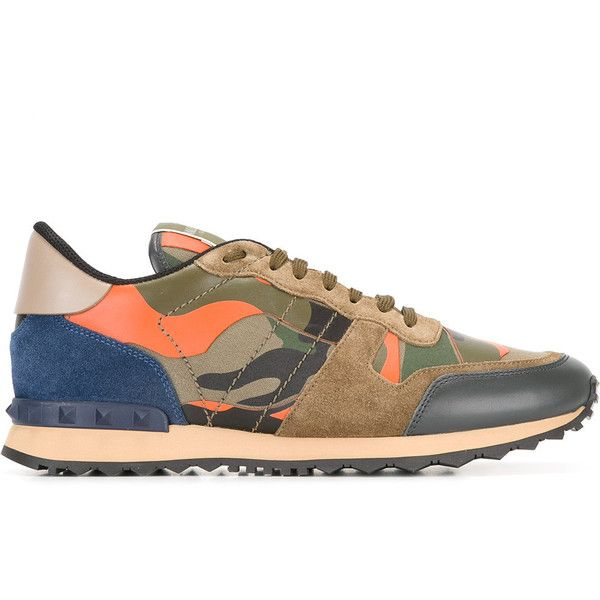 Valentino Garavani Camouflage Sneakers ($495) ❤ liked on Polyvore featuring men's fashion, men's shoes, men's sneakers, green, mens camo sneakers, mens green shoes, valentino mens sneakers, mens camo shoes and valentino mens shoes