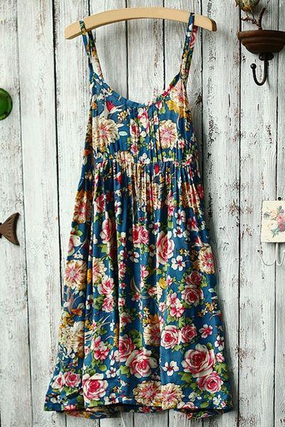 Sleeveless Spaghetti Strap Color Block Floral Print Dress BLUE: Print Dresses   ZAFUL