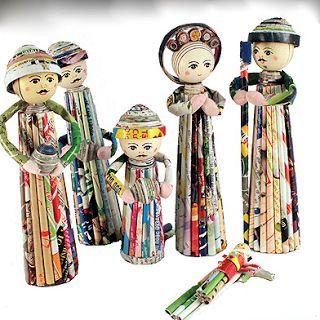 Zimbabwe Nativity Set Handcarved and Handpainted Jacaranda wood