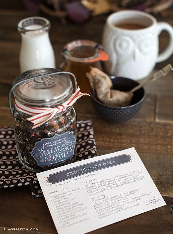 Free printable recipe cards (editable for your own recipes)   recipe for chai spice tea mix Lia Griffith omnivorus.com