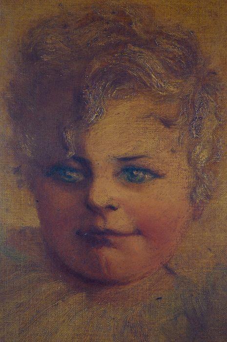 Emily Allnut. (19de eeuw) - een portret van de jonge Elliot Hotblack  Ik ben aanbieden voor de veiling een charmante 19e eeuw-olieverf op doek van Elliot Hotblack als een baby/peuter na zijn geboorte in 1887 is geschilderd door zijn tante Emily Allnut.Het schilderij paneel meet 35 x 23 cm. Het frame meet 46 x 33 cmHet schilderij is in reële orde. Bekijk alle foto's voor een precies beeld van de conditie. Het schilderij is vuil en onaangeroerd. Met een schoon kon doen. Frame heeft slijtage en…