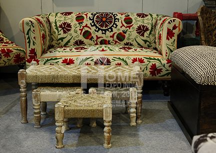 Hand crafted prints and patterns blossom on upholstered furniture...at The Home Expo India, 2016 #furniture #homedecor #tradeshow