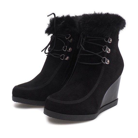 Botki Damskie Butymodne Czarne Ocieplane Botki Na Koturnie J 6 Czarny Insulated Boots Boots Black Boots