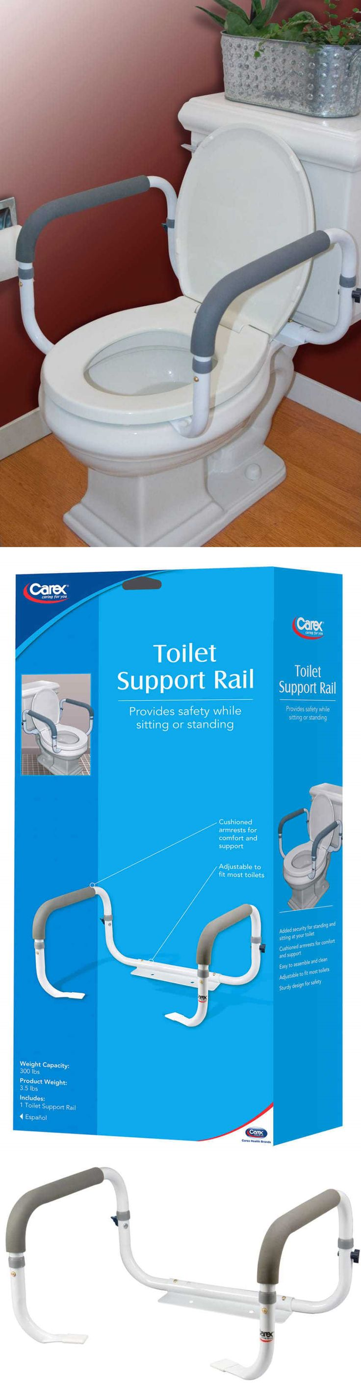 Handles and Rails: Toilet Safety Frame Rail Bathroom Grab Bars Seat Medical Support Handicap Arms BUY IT NOW ONLY: $30.97