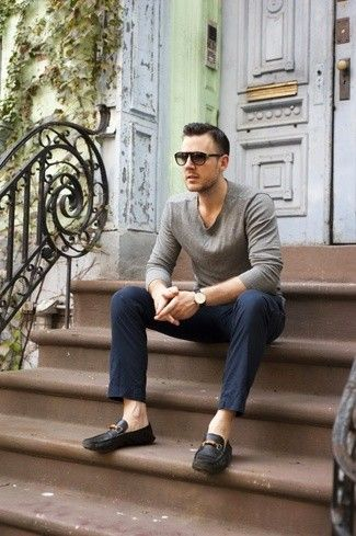 Men's Grey Long Sleeve T-Shirt, Navy Chinos, Black Leather Driving Shoes, Dark Brown Sunglasses